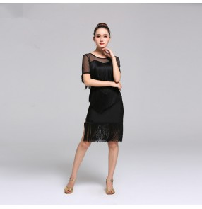 Women's tassels competition latin dance dresses black red rumba chacha salsa dance skirts costumes dress